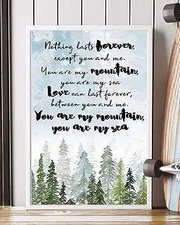Mountains Lyrics Portrait Poster Print (12