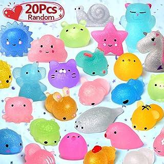 LUDILO Mochi Animal Squishies Toys 2nd Generation Glitter Mochi Squishy 20pcs Random..