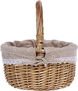 NUOBESTY Panier de pique-nique en osier avec poignées, panier rond en saule, panier de fruits, panier de fleurs, boîte de ...