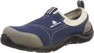 Plus Panoply Miami S1P Blue Canvas Slip On Steel Toe Safety Trainers Sneakers