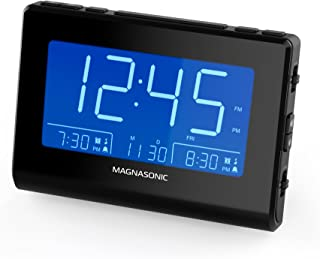 Magnasonic Alarm Clock Radio with USB Charging for Smartphones & Tablets, Auto Dimming, Dual Gradual Wake Alarm, Battery Backup, Auto Time Set, Large 4.8
