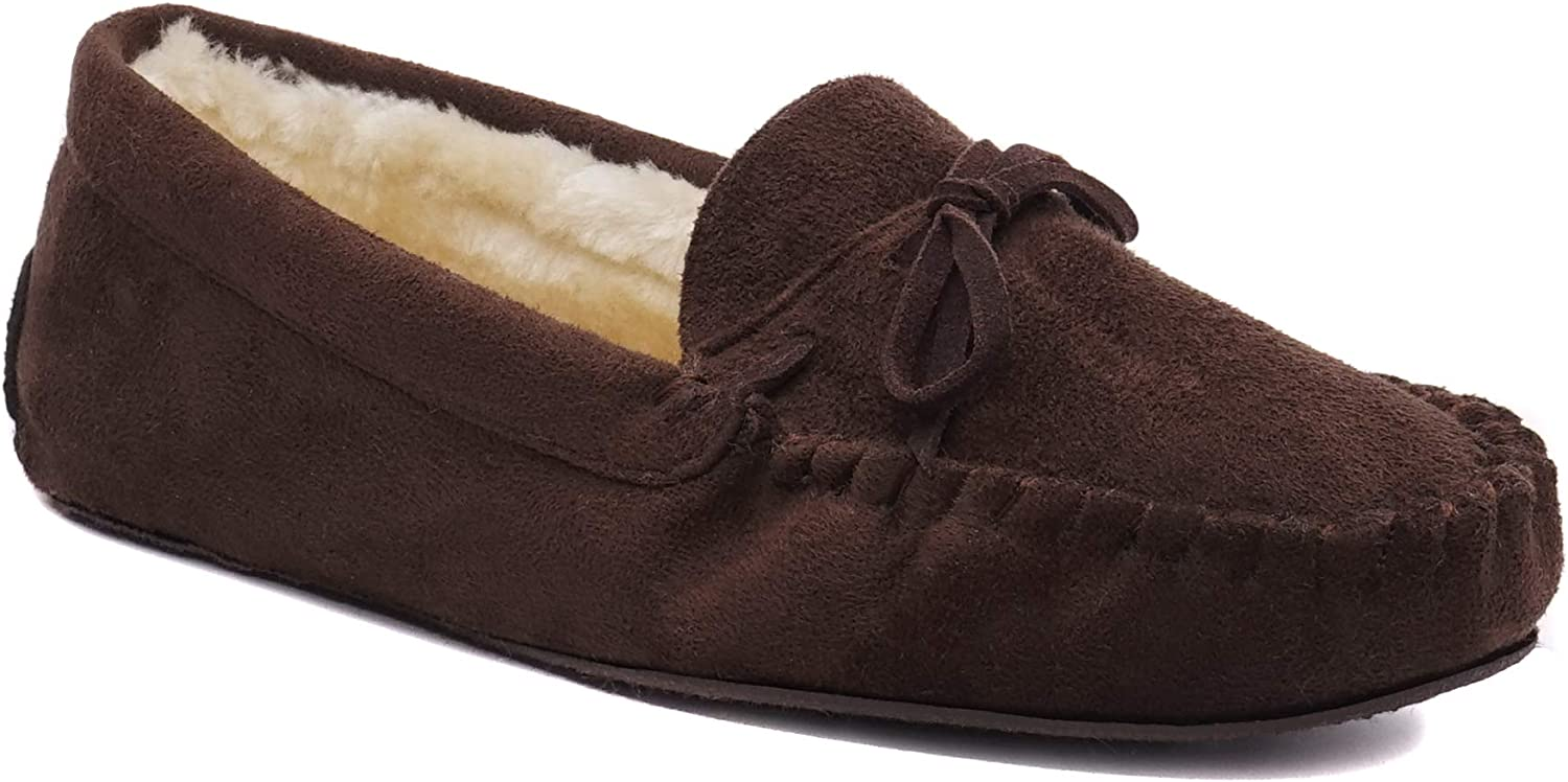 Charles Albert Women's Fur Lined Moccasins Faux Suede Winter Slippers
