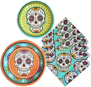 Day of The Dead Dia De Los Muertos Sugar Skull Party Supplies Paper Plate and Napkin Bundle of 3 - Service for 8
