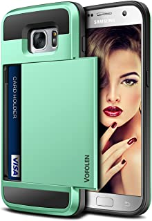 Vofolen Case for Galaxy S7 Case Wallet Slidable Card Holder Slot ID Pocket Protective Hard Shell Shock Absorbing TPU Tough Rubber Bumper Armor Scratch-Proof Case Cover for Samsung Galaxy S7 Mint