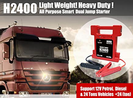 Super Compact 26000mAh 12/24V switchable Heavy Duty battery Jump Starter w/Lamp 800A