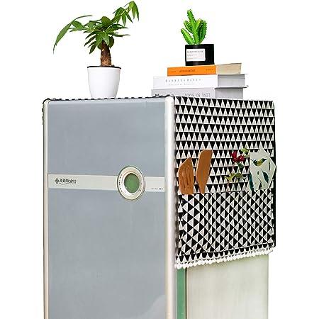 Housse de Réfrigérateur 55x130cm Couvercle Anti-poussière pour Machine à Laver avec Sacs de Rangement des Deux Côtés, Housse de Protection pour Réfrigérateur Lave-linge Micro-onde (Style Nordique)