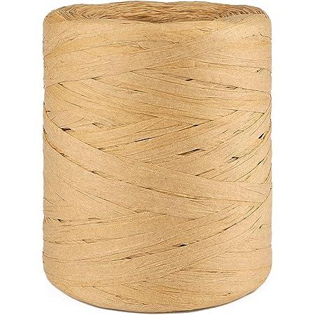 Raphia Naturel Ruban en Papier Raphia 200 mètres pour Emballage de Cadeaux, Travaux Manuels, Décoration (Couleur kraft)