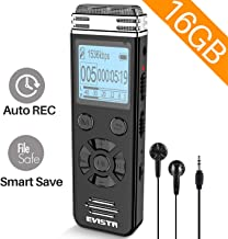 EVISTR 16gb Digital Voice Reorder Line in - Portable Recorders for Lectures Voice Activated Recording Device with Playback, Password, USB Rechargeable