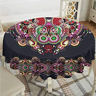 ScottDecor Pattern Round Tablecloth Ukrainian Embroidery Fashioned Ornate Paisley with Unique Features Motif Violet and Dark Grey Picnic Cloth Diameter 70