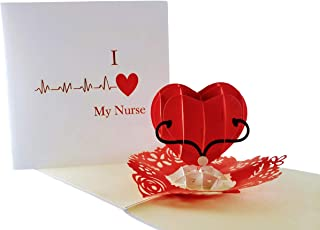 iGifts And Cards Unique I Heart My Nurse 3D Pop Up Greeting Card – Thank You, Happy Birthday, Appreciation, Congrats, Half-Fold, Love, Funny, Best, Medical, Healthcare, Hospital, Wonderful, Special