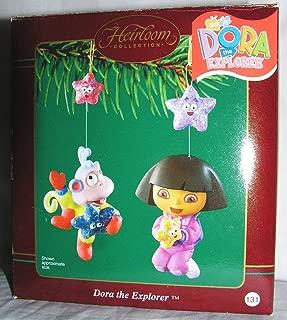 2003 Carlton Heirloom Dora the Explorer and Boots the Monkey Christmas Ornaments Set