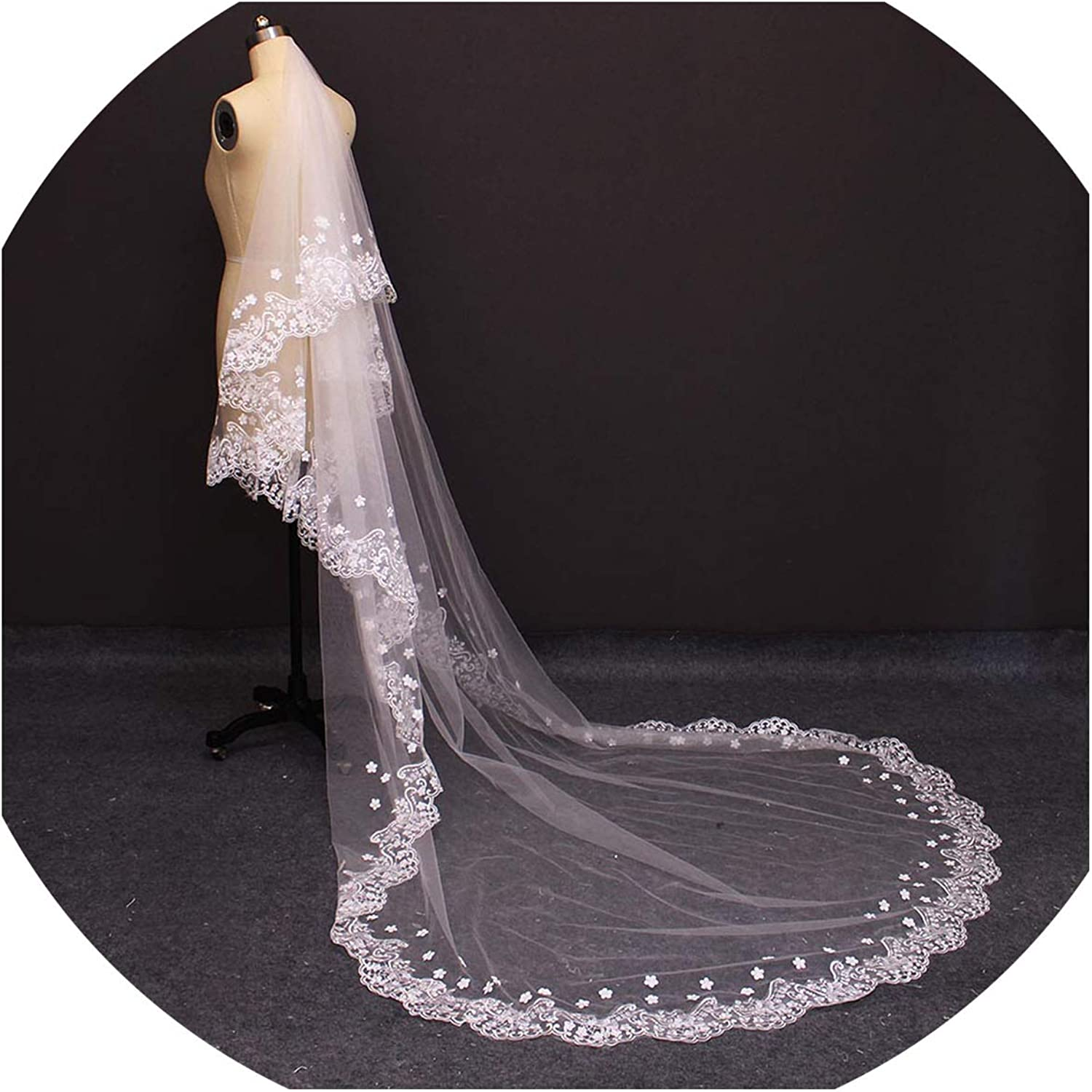 2019 Real Photos Two Layers Lace Edge Pearl Beaded Flower Wedding Veil With Comb 2 T Bridal Veils,Ivory