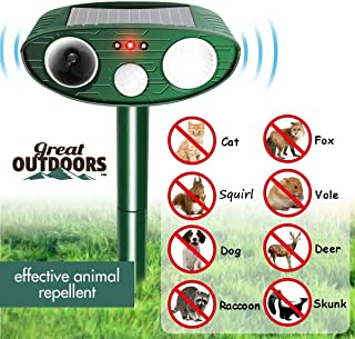 Great Outdoors Ultrasonic Animal Repeller - Eco-Friendly and Waterproof Solar Repellent with Sound Control and Flashing Light – Sonic Deterrent for Bird Deer Cat Dog Raccoon Fox - Garden Protection