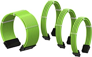 LINKUP - Cable con Manguito - Prolongación de Cable para Fuente de Alimentación con Kit de Alineadores | 1x 24P (20+4) MB | 1x 8P (4+4) CPU | 2X 8P (6+2) GPU | 30CM 300MM - Verde