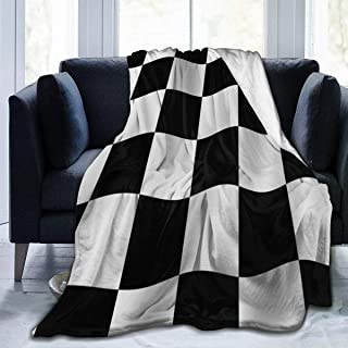 SLHFPX Fleece Plush Throw Blanket Comforter Checkered Flag Faux Fur Soft Cozy Warm Fluffy Lightweight Microfiber Fuzzy Blanket for Bed Couch Sofa Chair Fall Nap Travel Camp Picnic