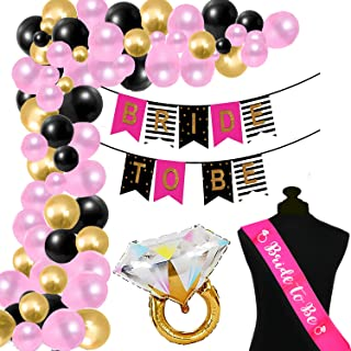 Realistic Store Bride to be Banner Decoration Combo For Bride Bachelorette Party Decoration Sash Ring Foil Balloons (Pack ...