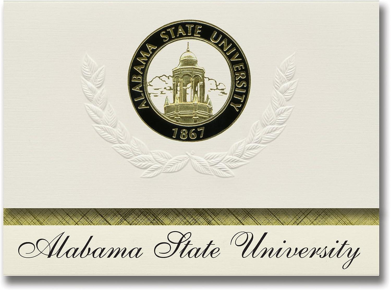 Signature Ankündigungen Alabama State University Graduation Ankündigungen, platin Stil, Elite Pack 20 mit Alabama State u. Dichtung Folie B0793GSR51  | Modern Und Elegant