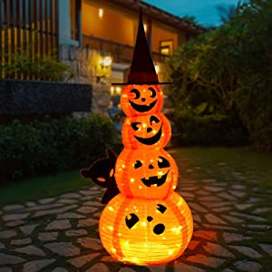PLTCAT 5Ft Halloween Decoration Lights Outdoor/Indoor, Lighted Stacked 4 Pumpkins with Witches Hat, Sturdy Bracket with Built-in LED Lights, Holiday Lights for Living Room, Yard Patio Decor