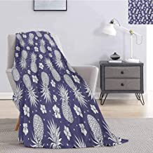 Luoiaax Fruits Faux Fur Blanket Warm Cozy Exotic Pineapple Floral Hyacinth Vintage Summer Holiday Botanical Beauty Design Super Soft Cozy Queen Blanket W60 x L80 Inch Lavender White
