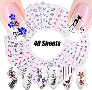 Nail Water Decals Nail Art Stickers for Women Nail Decorations Black Lace Slide Tattoo Papers - Butterfly, Flower, Cat, Long Vine - Toenail Accessories - 40 Sheets Assorted Designs - DIY Styling