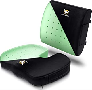 OVEYNERSIN Seat Cushion & Lumbar Support Pillow Set - Comfortable Memory Foam Seat Pad Set - Relieves Back, Hip, Tailbone, Sciatica Pain - for Office Chair, Car Seat, Desk Chair