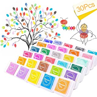 Almohadilla de tinta de dedo para manualidades de 30 colores, no tóxica, para goma, manualidades, sellos, tarjetas, arcoíris y decoración de bodas (lavable)