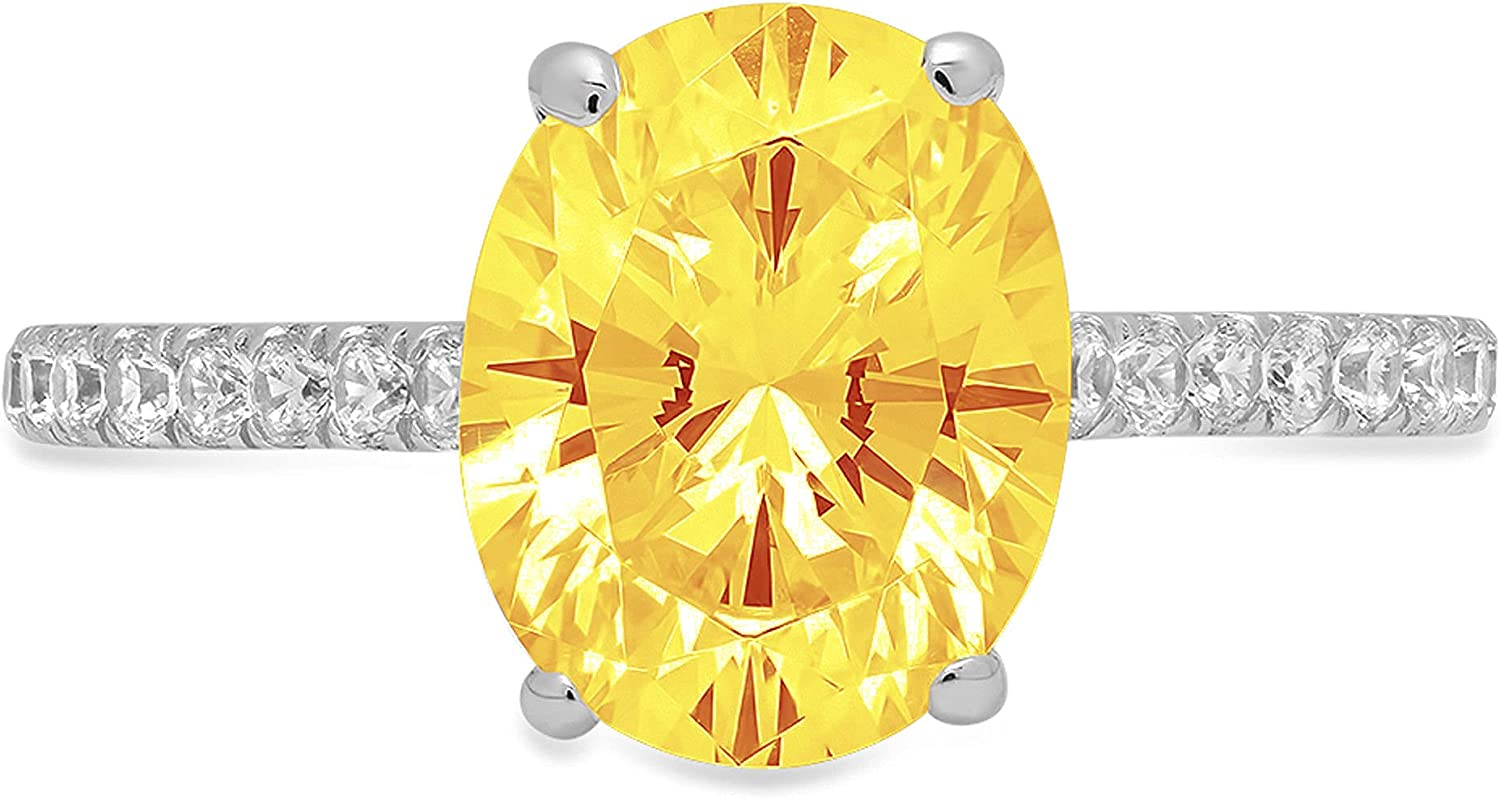 1.83ct Brilliant Oval Cut Solitaire with accent Natural Yellow Citrine Gemstone Ideal VVS1 Engagement Promise Statement Anniversary Bridal Wedding ring Real Solid 14k White Gold