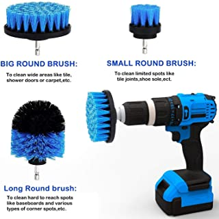 Scrub Brush Attachment 3 Pack kit, Blue All Purpose Power Heavy Duty Stiff Bristle Cleaning Scrubbing Brushes for Bathroom Surface, Grout, Tub, Shower, Kitchen, Auto,Boat,RV (Blue)