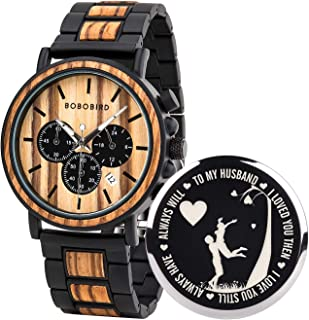 BOBO BIRD Mens Personalized Engraved Wooden Watches, Stylish Wood & Stainless Steel Combined Quartz Casual Wristwatches fo...