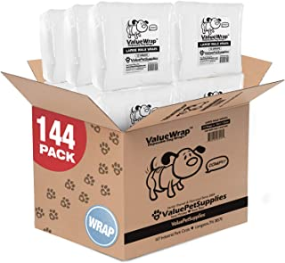 ValueWrap Disposable Male Dog Diapers, 2-Tab, 144 Count - Absorbent Male Wraps for Incontinence, Excitable Urination & Travel, Fur-Friendly Fasteners, Leak Protection, Wetness Indicator
