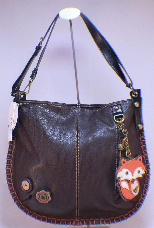 Chala Hobo Crossbody Large Tote Bag FOX Pleather DARK BROWN Congreenible