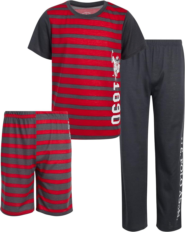 U.S. Polo Assn. Boys' Pajama Set - 3-Piece Short Sleeve T-Shirt, Sleep Shorts, and Pajama Bottoms (Little Boy/Big Boy)