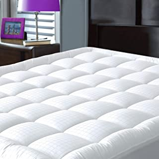 JURLYNE Pillowtop Mattress Pad Cover Full Size - Breathable - Cotton Top Down Alternative Filled Mattress Topper