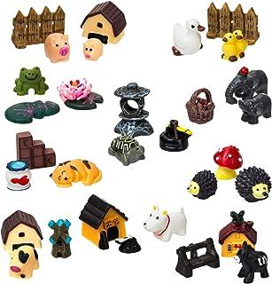 LIHAO 30 Piece Miniature Fairy Garden Ornaments, Miniature Tortoise, Frog, Hedgehog, Villaand More Accessories for Fairy ...