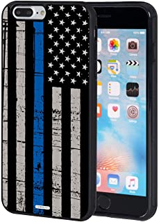 iPhone 8 Plus Case,AIRWEE Slim Anti-Scratch Shockproof Silicone TPU Back Protective Cover Case for iPhone 8 Plus 5.5 Inch,Weathered Thin Blue Line Flag