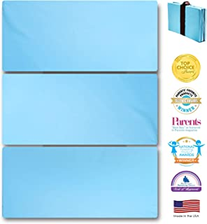 MamaDooKids Smart Play Yard Mattress, Patented and Made in California, 4 National Awards, Safe, Non-Toxic for 0-3 yr. old, Multi-use and Portable, Includes Travel and Storage Bag, Blue