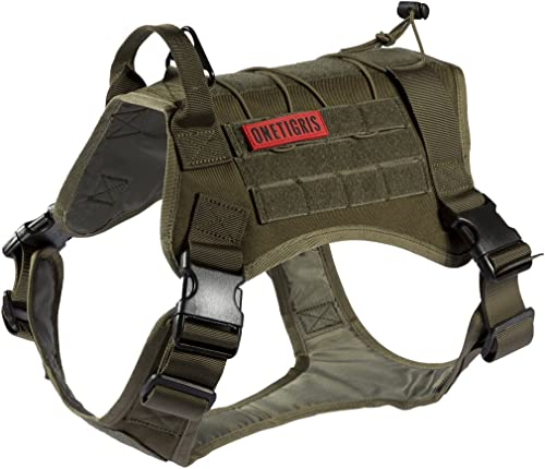 OneTigris Tactical Service Dog Vest - Water-Resistant Comfortable Military Patrol K9 Dog Harness with Handle (Extra L...