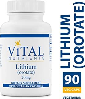 Vital Nutrients - 100% Elemental Lithium (Orotate) 20 mg - Supports Mental and Behavioral Health - Gluten Free - 90 Vegetarian Capsules per Bottle