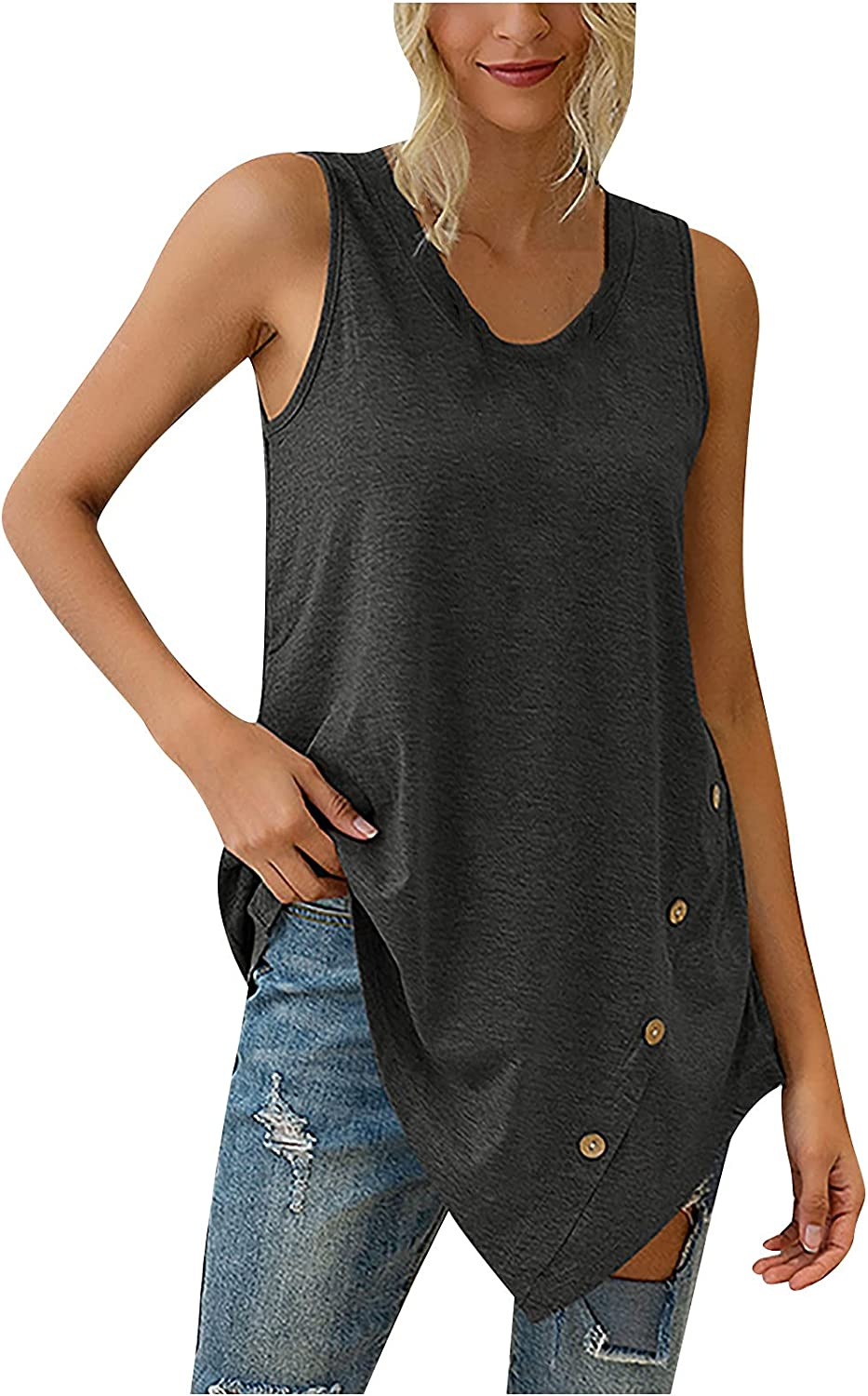 Women Summer Tops Fashion Women's Summer Solid O-Neck Casual Button Sleeveless Vest Blouse