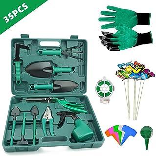 DM Gardening Tool Set, Heavy Duty Aluminum Garden Tools Set for Women with Carrying Case, Ergonomic Handle Shovels, Rakes, Pruning Shears, Gardening Tools for Men (Green)