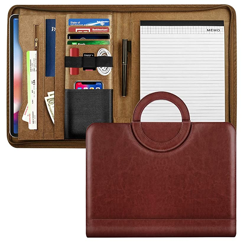 MoKo Leather Padfolio Portfolio Folder with Handle, Professional Business Portfolio Organizer with 11 Inch Tablet Sleeve for iPhone, iPad, Tablets, Notebooks and Documents - Wine Red