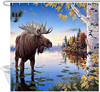 NYMB Fall Moose Shower Curtains for Bathroom, Autumn Scene Animal Elk Fall Leaves Birch Forest River Bath Curtain, Polyester Fabric Bathroom Decor Sets, 69X70 Inches