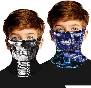 2 Pack Kids Neck Gaiter (3-12 Years),Face Bandana Mask...