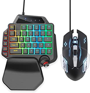 IFYOO K96 USB Wired Gaming 36 Keys One-Handed Keyboard and Mouse Combo Set for PC Games (Windows 10/8/7/XP, Linux), with R...