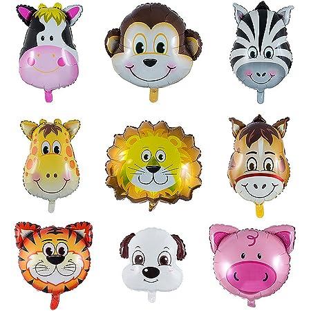 Vordas 9 Pezzi Palloncini Animali Giungla, Palloncini Animali Elio - L'elio è Permesso, Perfetto per i Bambini Decorazione Festa di Compleanno (Dimensioni: 30-50cm)