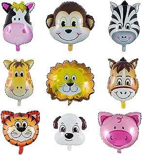 Vordas 9 Piezas Globos Animales Cumpleaños, Globos Animales Helio - Helio está Permitido, Decoración de la Fiesta de Cumpleaños de los Niños (Tamaño: 30-50 cm)