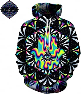 Dawery Unisex 3D Printed Pullover Hooded Trippy Hamsa by Brizbazaar Art Hoodies