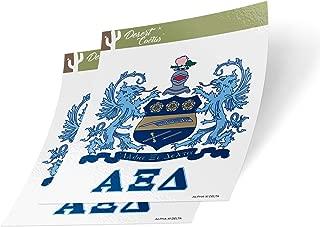 Alpha Xi Delta Crest & Letter 2-Pack Sticker Decal Greek for Window Laptop Computer Car (Crest Sticker)