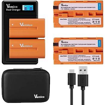 Vemico NP-F550/ NP-F570バッテリー LCD付き充電器 セット NP-F550/F750/F960/FM50/70/90/ 2個互換バッテリー 大容量3000mAh 対応機種 NP-F530/ NP-F550 /NP-F570/ NP-F330/ CCD-RV100/ RV200/ TR1 /TR940 /TR917 /CN-160 /CN-216 /CN-304 /YN 300 /V607u /V617u Type-c USB 充電器