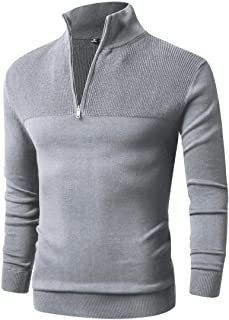 Men Sweater,Slim Zipper,Polo Sweater Casual Long Sleeve and Pullover with Ribbing Edge